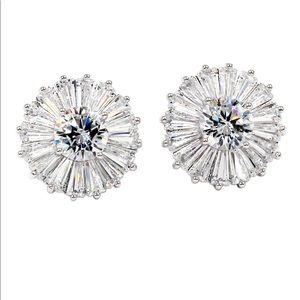 Simple shining crystal earrings